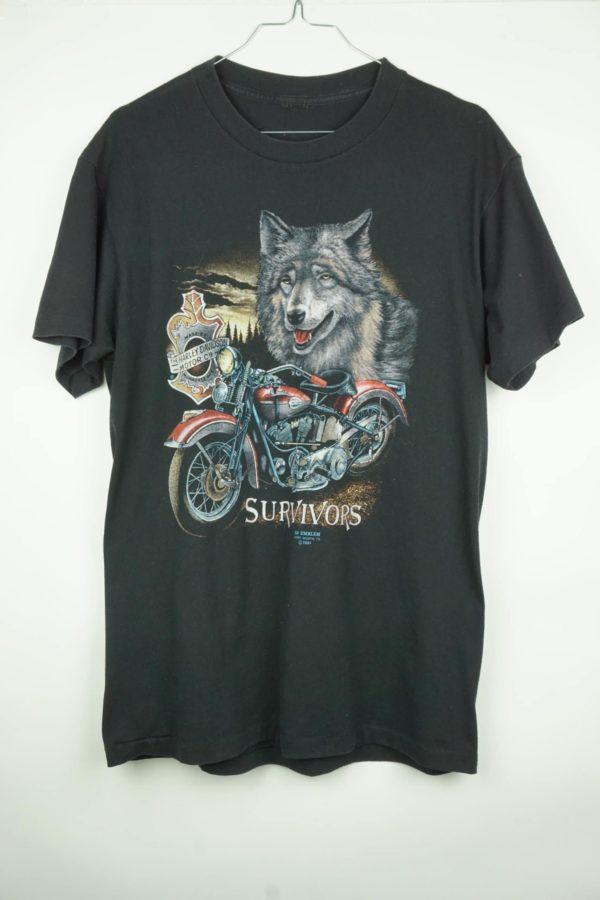 1991 Harley Davidson Survivors Motorcycle Wolf Vintage T-Shirt der Marke 3D Emblem