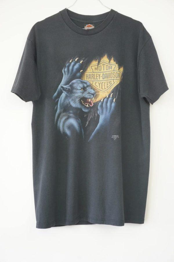 1991 Harley Davidson Black Panther 3D Emblem Vintage T-Shirt front