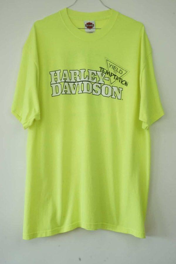 2009 Harley Davidson Neon-Gelbes Galena Vintage T-Shirt front