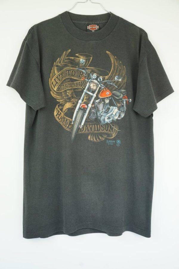 1989 Harley Davidson 3D Emblem Live to Ride, Ride to Live Vintage T-Shirt
