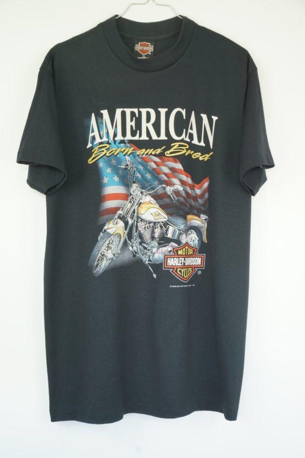 1992 Harley Davidson 3D Emblem American Born and Bred Vintage T-Shirt