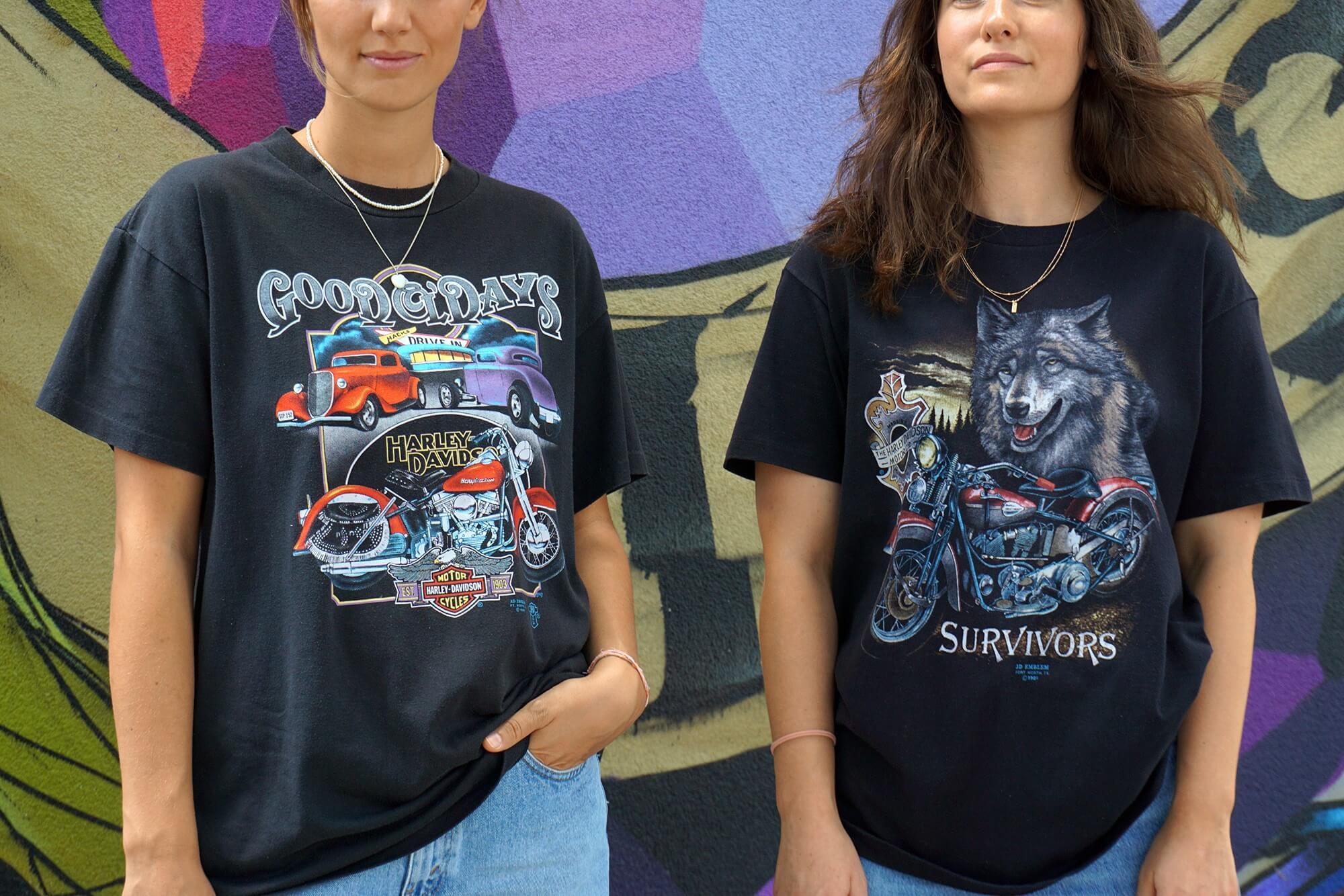 Originale Harley Davidson Vintage Shirts aus den 90er Jahren 3D Emblem