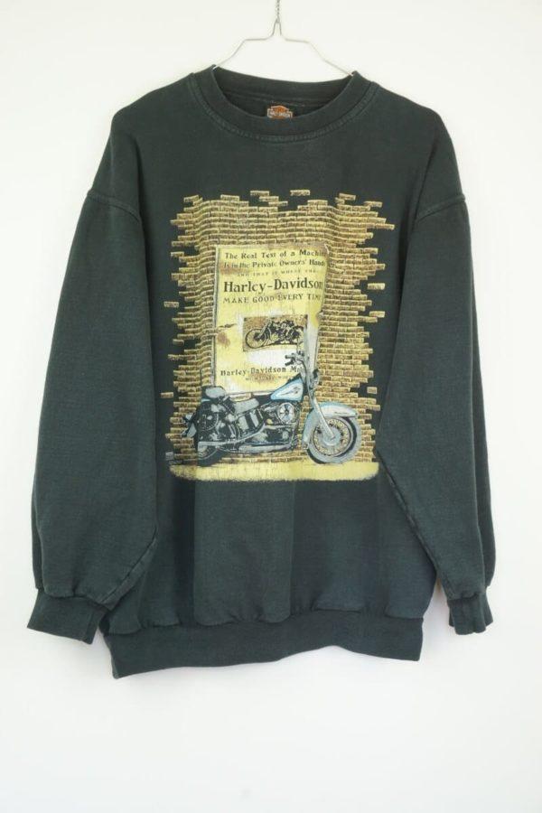Original 1990s Harley Davidson Motorcycle Wall Logo Vintage Pullover Sweatshirt