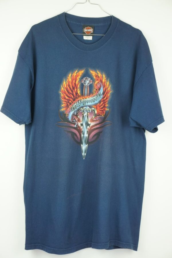 Original 2005 Harley Davidson Flame Sword Cologne Germany Vintage T-Shirt.