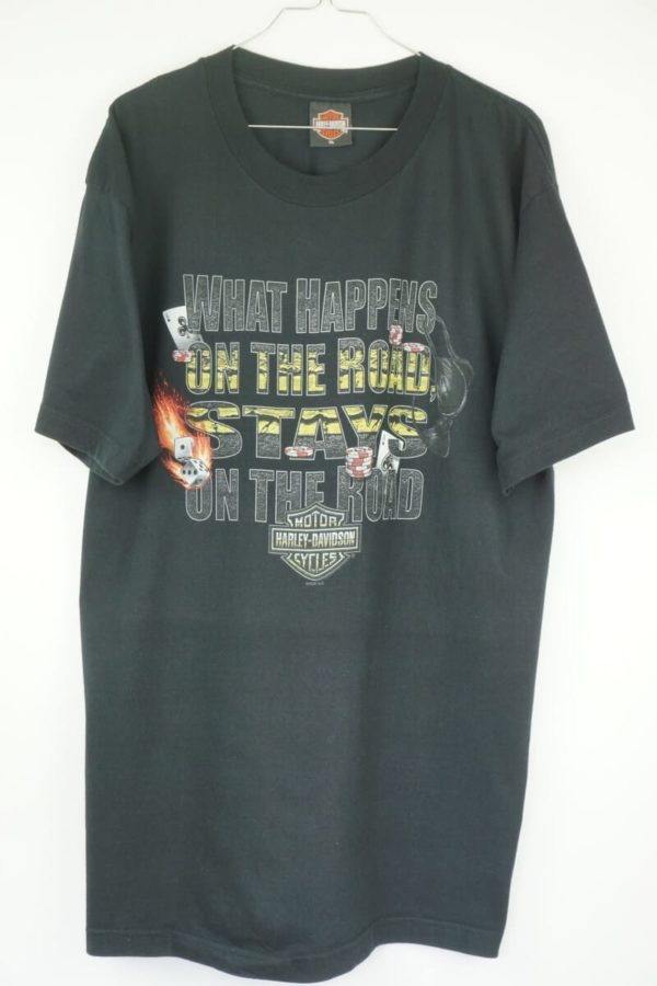 Original 2006 Harley Davidson What happens on the road stays on the road Vintage T-Shirt.