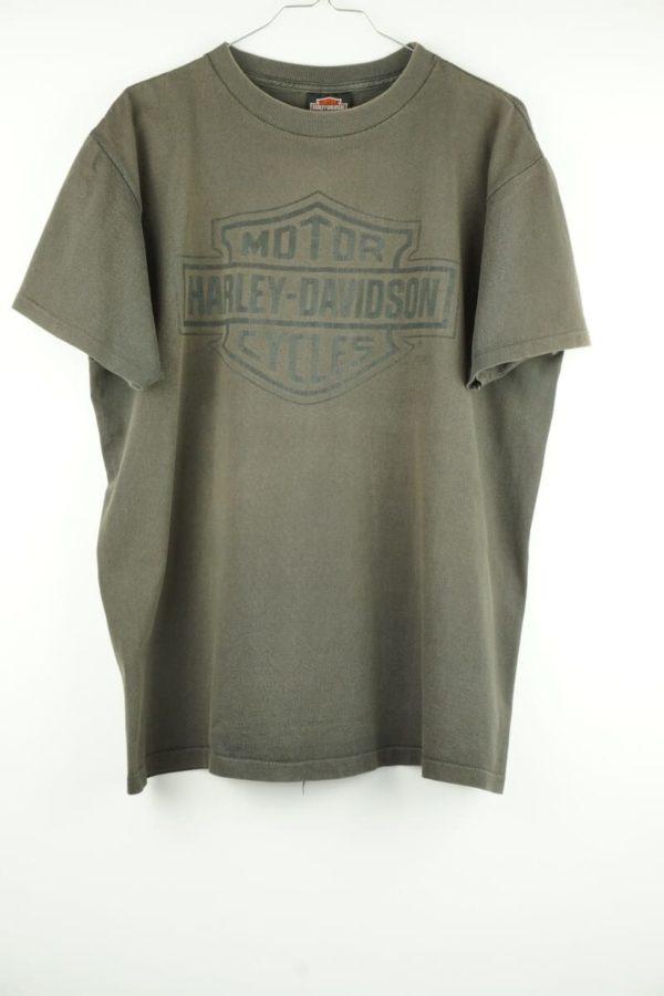 Original 1990 Harley Davidson 3D Emblem Brown Logo Vintage T-Shirt mit Single Stitched